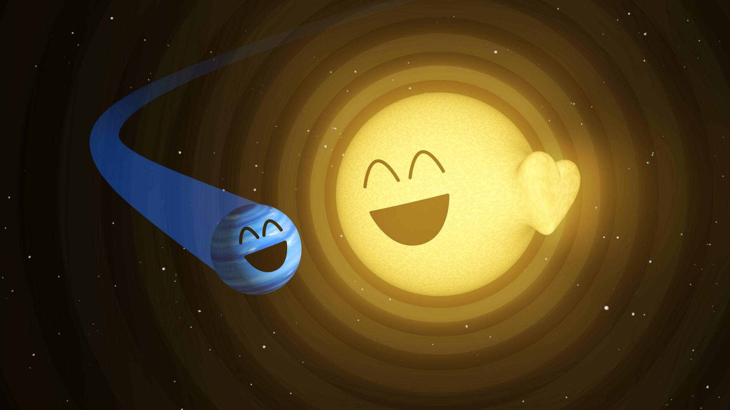 This illustration shows how the planet HAT-P-2b, left, appears to cause heartbeat-like pulsations in its host star, HAT-P-2. - Image Credits: NASA/JPL-Caltech