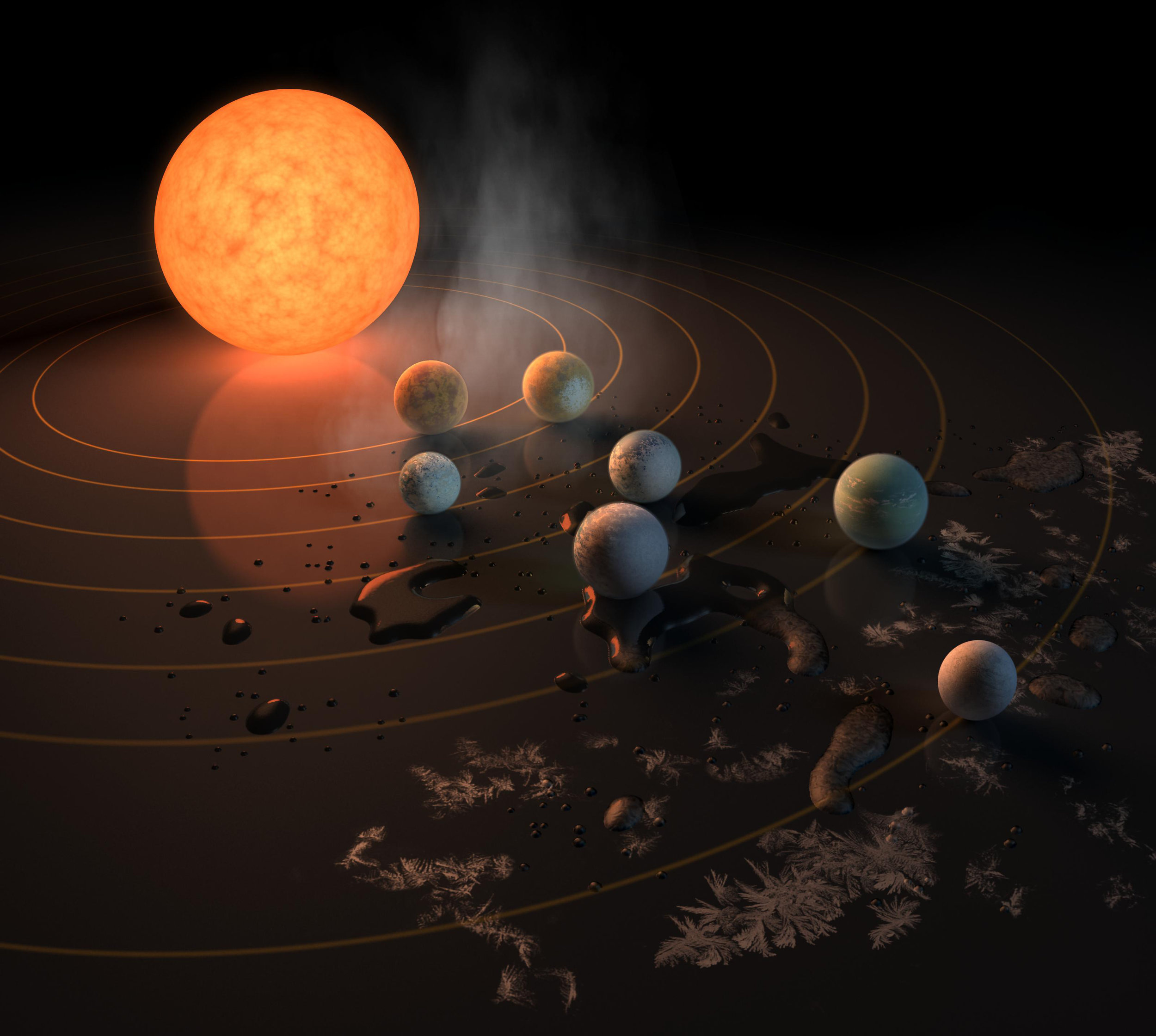 This artist's concept appeared on the Feb. 23, 2017 cover of the journal Nature announcing that the TRAPPIST-1 star, an ultra-cool dwarf, has seven Earth-size planets orbiting it. Any of these planets could have liquid water on them. Planets that are farther from the star are more likely to have significant amounts of ice, especially on the side that faces away from the star. - Image Credits: NASA-JPL/Caltech