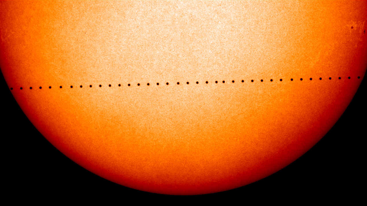 A timelapse of Mercury transiting across the face of the Sun. - Image Credit: NASA