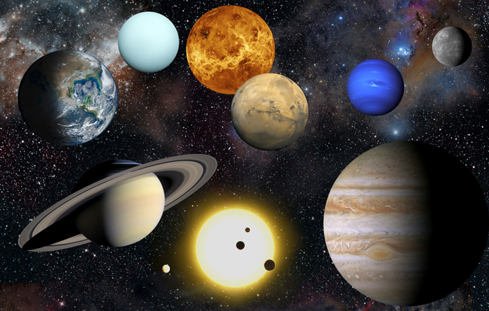 Artist's impression of the planets in our solar system, along with the Sun (at bottom). - Image Credit: NASA