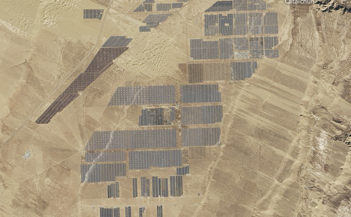 A view from Earth orbit of the Longyangxia Dam Solar Park in China. Credit: NASA/Landsat 8.