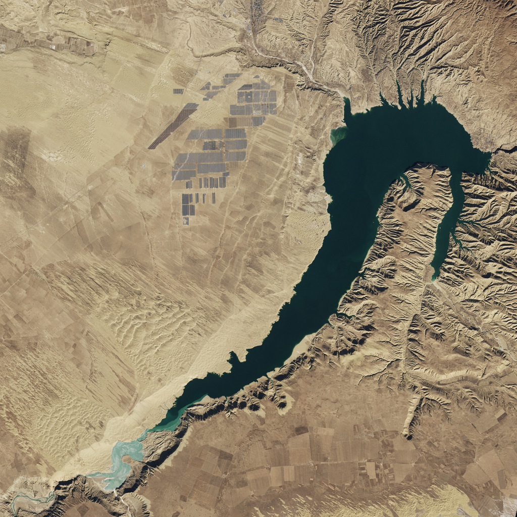 The orbital view from April 16, 2013 of the Longyangxia Dam Solar Park in China. - Image Credit: NASA/Landsat 8.