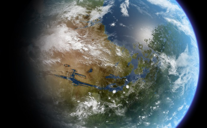 Artist's conception of a terraformed Mars. = Image Credit: Ittiz/Wikimedia Commons