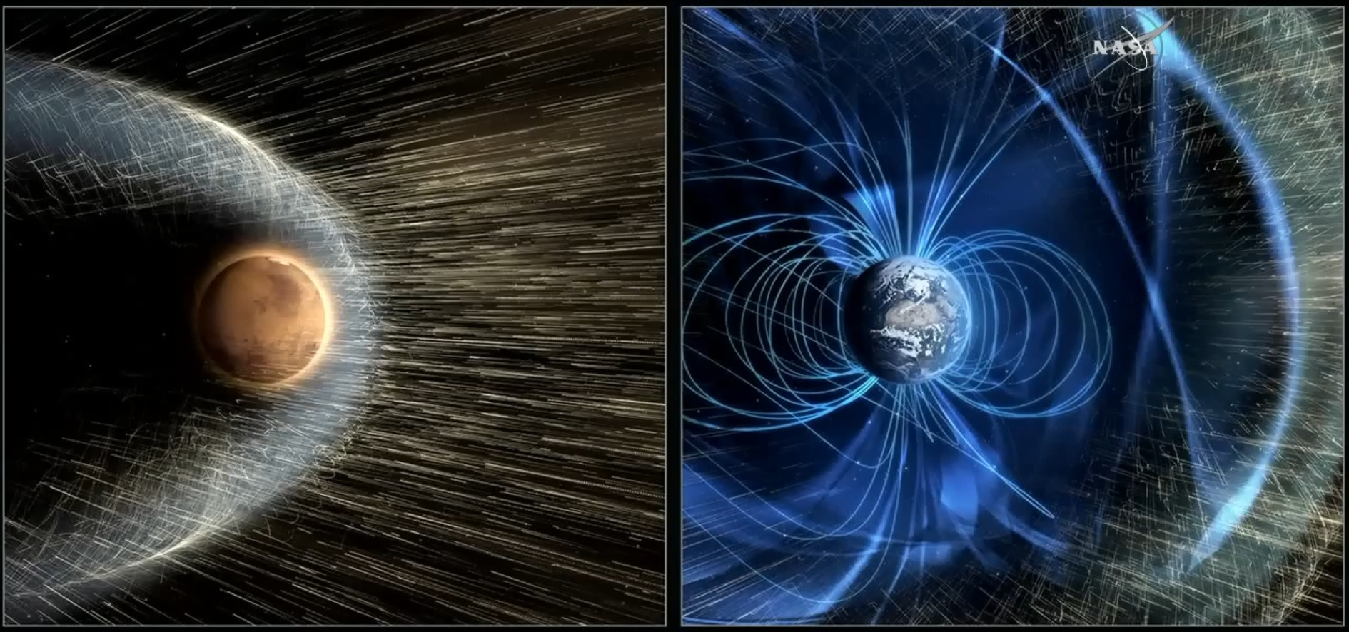 At one time, Mars had a magnetic field similar to Earth, which prevented its atmosphere from being stripped away. - Image Credit: NASA