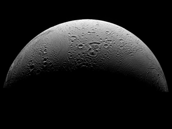 The North Polar Region of Saturn's moon, Enceladus. Could there be an ocean world full of life under its frozen surface? - Image Credit: NASA/JPL/Space Science Institute