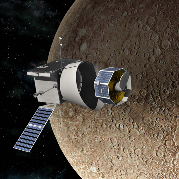 Bepi-Colombo, a joint mission of the ESA and JAXA, will perform two fly-bys of Venus on its way to Mercury. - Image Credit: ESA/JAXA