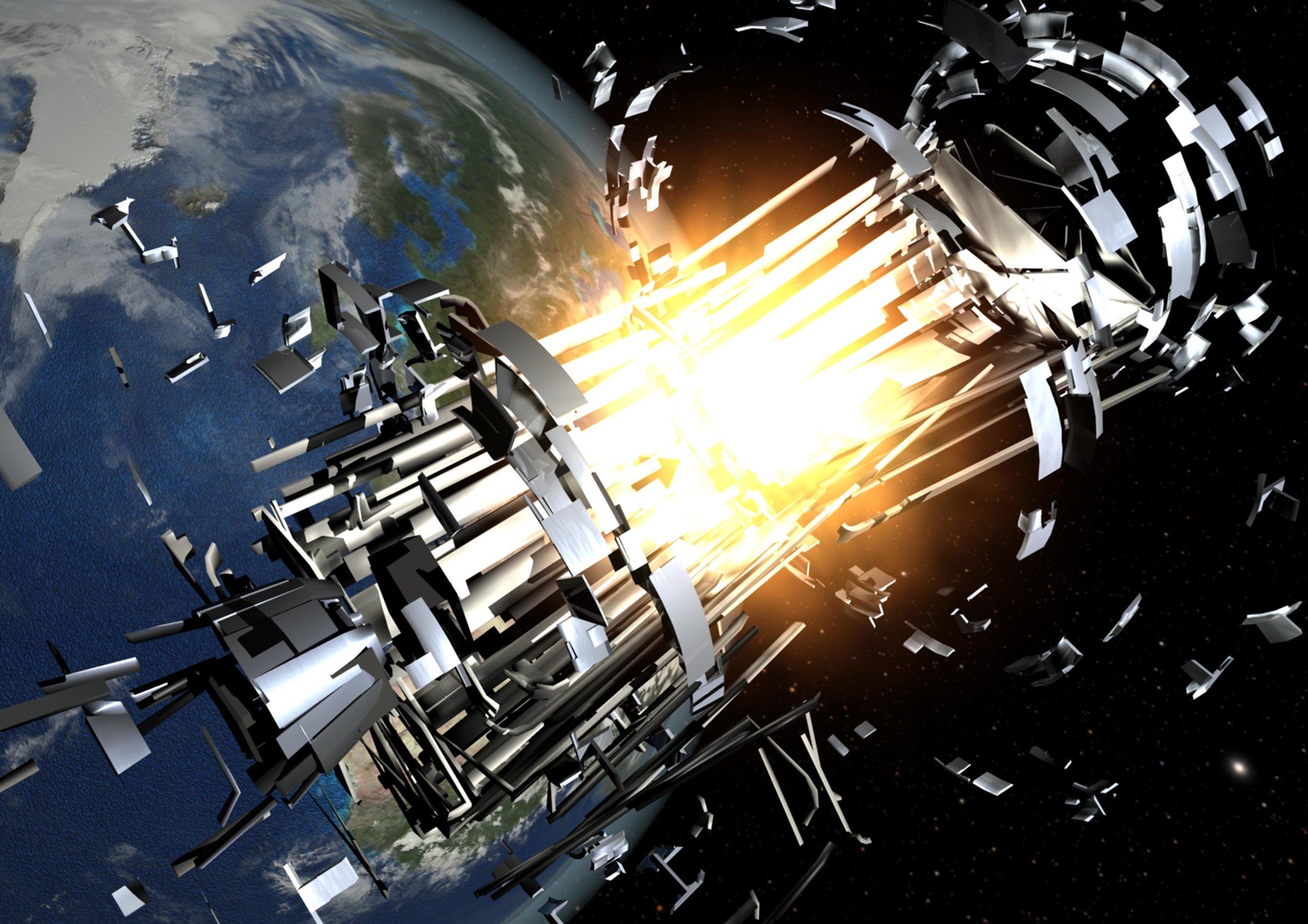 Sources of space debris include explosions of rocket bodies. - Image Credit: ESA