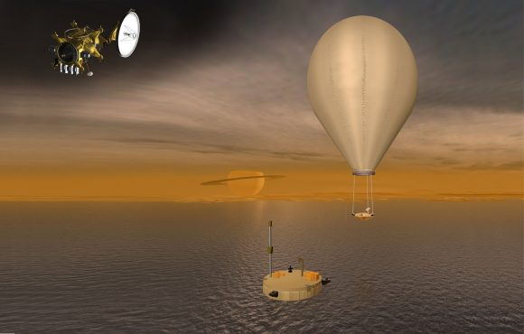 The spacecraft, balloon, and lander of the Titan Saturn System Mission. - Image Credit: NASA Jet Propulsion Laboratory