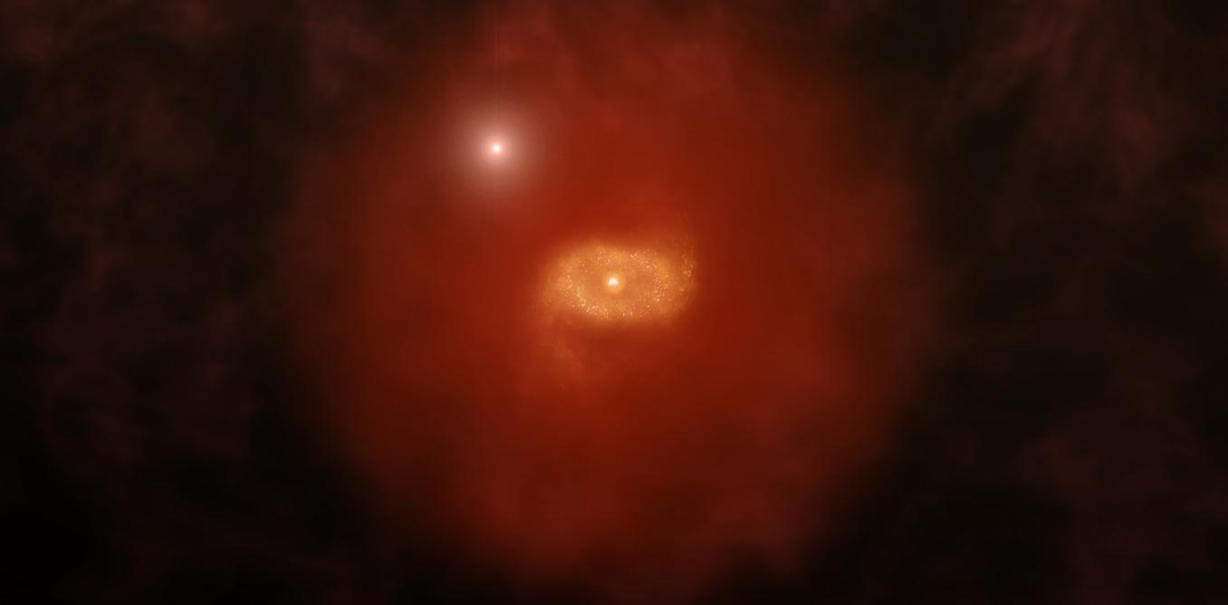 Artist's impression of a quasar shining through a galaxy's 'super halo' of hydrogen gas. - Image Credit: A. Angelich (NRAO/AUI/NSF), CC BY-ND