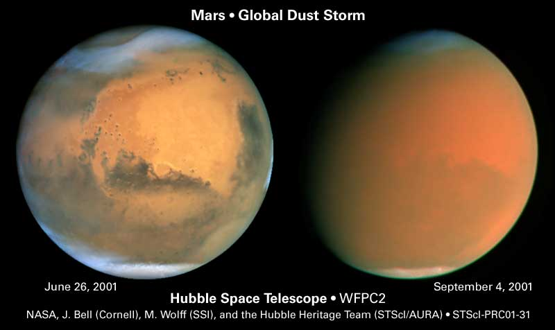 Hubble images show cloud formations (left) and the effects of a global dust storm on Mars - Image Credit: NASA/James Bell (Cornell Univ.), Michael Wolff (Space Science Inst.), and Hubble Heritage Team (STScI/AURA)