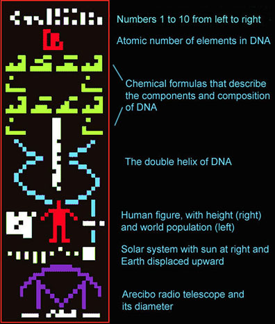 This is the digital message (annotated here) sent by Frank Drake to M13 in 1974 using the Arecibo radio telescope.