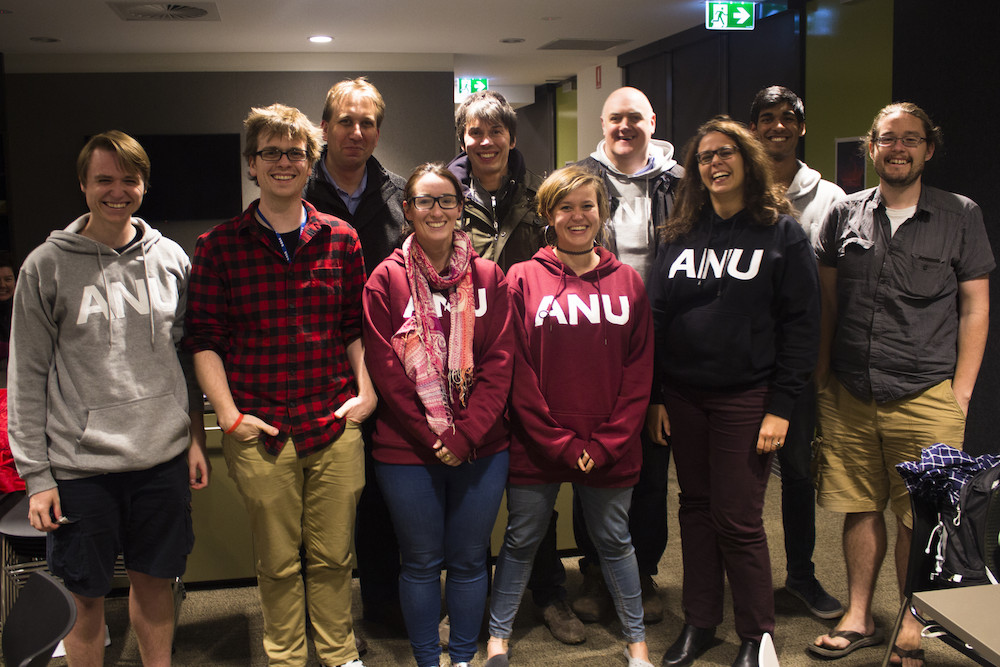 Researchers from Australian National University pose with BBC astronomers Chris Lintott, Brian Cox and Dara O'Brien. - Image Credit: ANU.