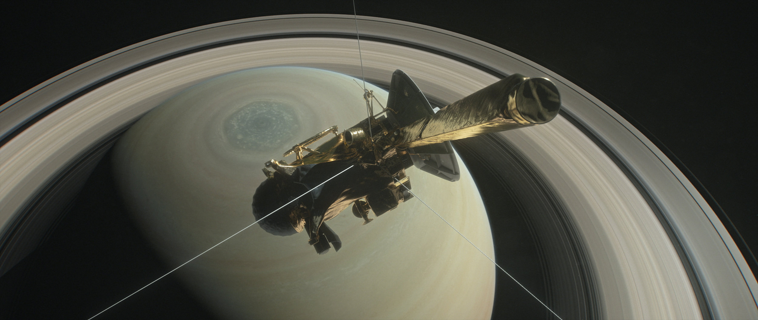 This illustration shows NASA's Cassini spacecraft above Saturn's northern hemisphere prior to one of its 22 grand finale dives. - Image Credits: NASA/JPL-Caltech