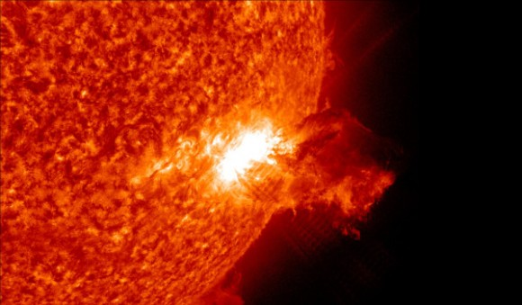 Our own Sun produces flares, but we are protected by our magnetosphere, and by the distance from the Sun to Earth. - Image Credit: NASA/ Solar Dynamics Observatory,