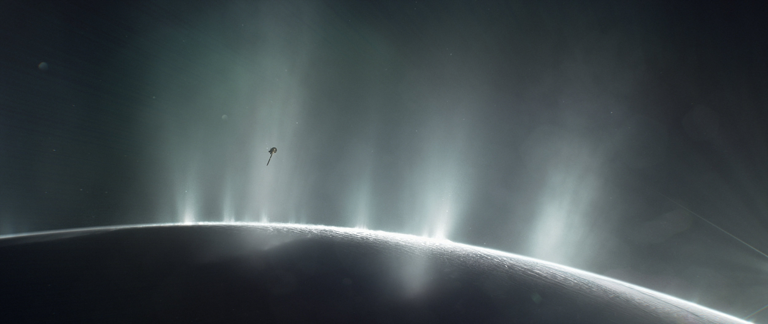This illustration shows Cassini diving through the Enceladus plume in 2015. New ocean world discoveries from Cassini and Hubble will help inform future exploration and the broader search for life beyond Earth. - Image Credits: NASA/JPL-Caltech
