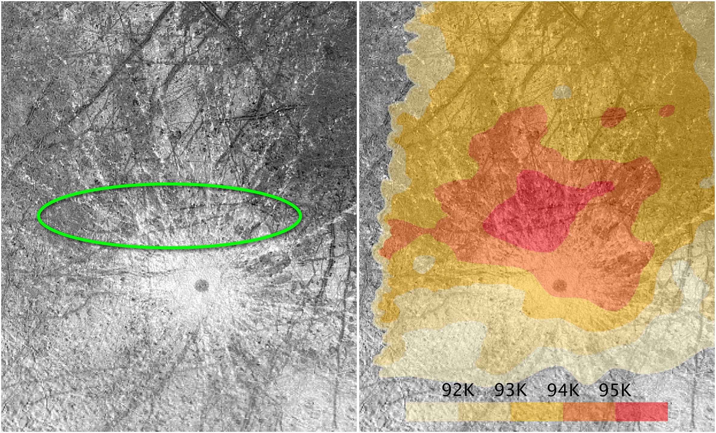 The green oval highlights the plumes Hubble observed on Europa. The area also corresponds to a warm region on Europa's surface. The map is based on observations by the Galileo spacecraft. - Image Credits: NASA/ESA/STScI/USGS