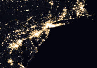 Composite image of Mid-Atlantic and Northeastern U.S. at night, 2016. - Image Credits: NASA Earth Observatory images by Joshua Stevens, using Suomi NPP VIIRS data from Miguel Román, NASA's Goddard Space Flight Center
