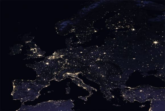 A glittering night-time map of Europe. Looks like there's a Kraftwerk concert happening in Dusseldorf! NASA Earth Observatory - Images by Joshua Stevens, using Suomi NPP VIIRS data from Miguel Román, NASA's Goddard Space Flight Cente