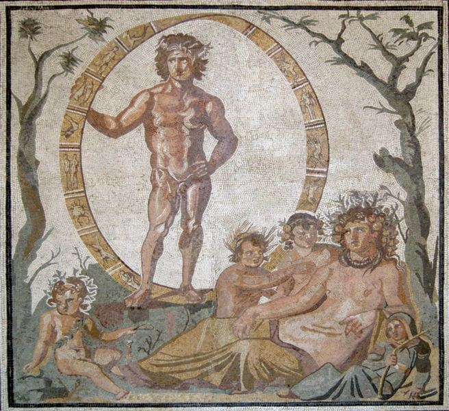 Large floor mosaic from a Roman villa in Sassoferrato, Italy (ca. 200–250 CE). Aion (Uranus), the god of eternity, stands above Tellus (Gaia) and her four children (the seasons). - Image Credit: Wikipedia Commons/Bibi Saint-Poi