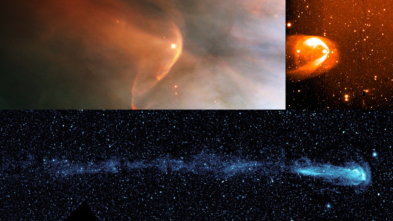 Many other stars show tails that trail behind them like a comet's tail, supporting the idea that our solar system has one too. However, new evidence from NASA's Cassini, Voyager and Interstellar Boundary Explorer missions suggest that the trailing end of our solar system may not be stretched out in a long tail. From top left and going counter clockwise, the stars shown are LLOrionis, BZ Cam and Mira. - Image Credits: NASA/HST/R.Casalegno/GALEX