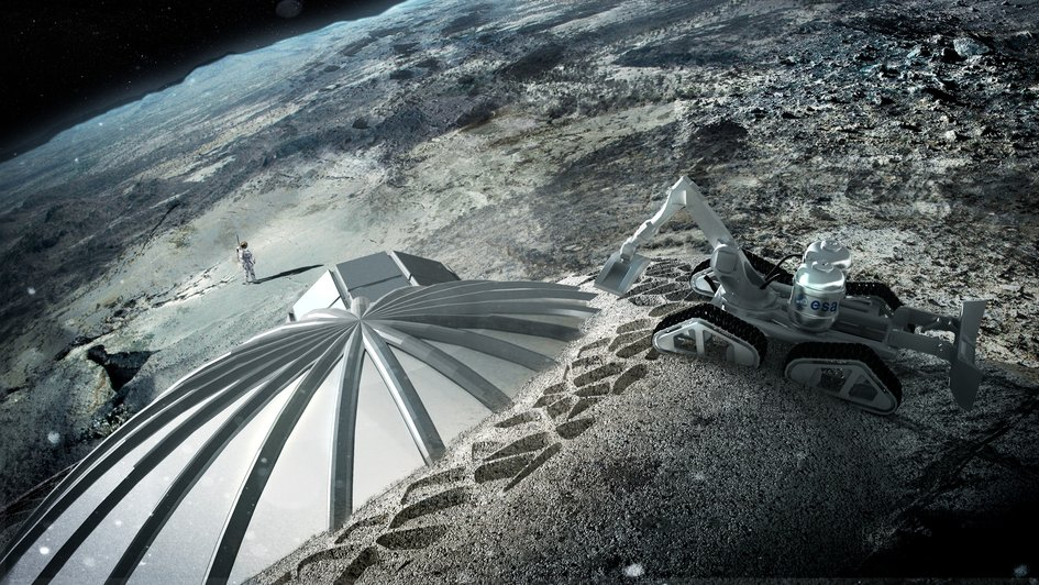 Multi-dome lunar base being constructed, based on the 3D printing concept. - Image Credits: ESA/Foster + Partners