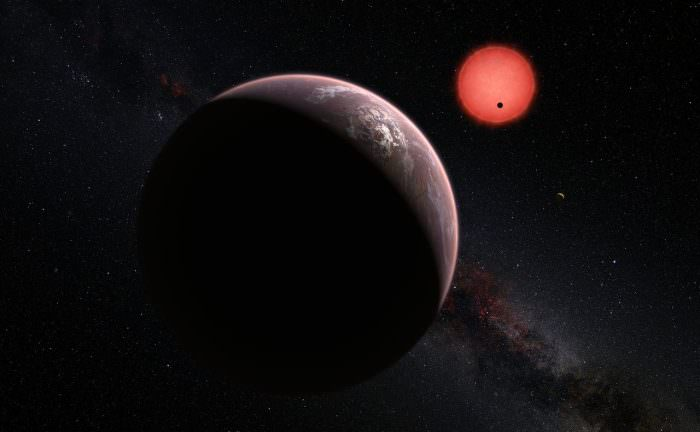 Artist's impression of of the exoplanets orbiting the ultracool dwarf star TRAPPIST-1. - Image Credit: ESO/M. Kornmesser/N. Risinger (skysurvey.org).