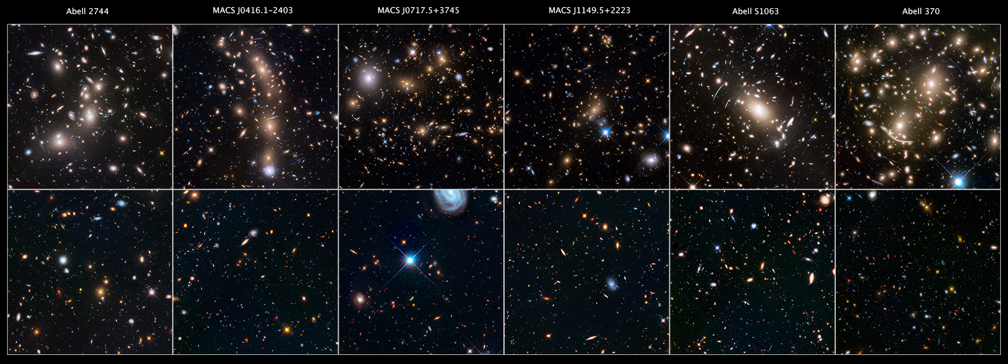 """This is a gallery of the Hubble Space Telescope Frontier Fields. The top six panels are massive galaxy clusters that act as huge lenses in space, magnifying and stretching images of remote galaxies behind each cluster that are too faint for Hubble to see directly. While one of the telescope's cameras looked at each cluster of galaxies, another camera simultaneously viewed an adjacent patch of sky. This second region is called a """"parallel field"""" — a seemingly sparse portion of sky that provides a deep look into the early universe. Astronomers observed each of the six clusters and six parallel fields in both near-infrared and visible light. This allowed scientists to create more detailed, overlapping, and complete images. - Image Credits: NASA, ESA, STScI, and the HFF team"""