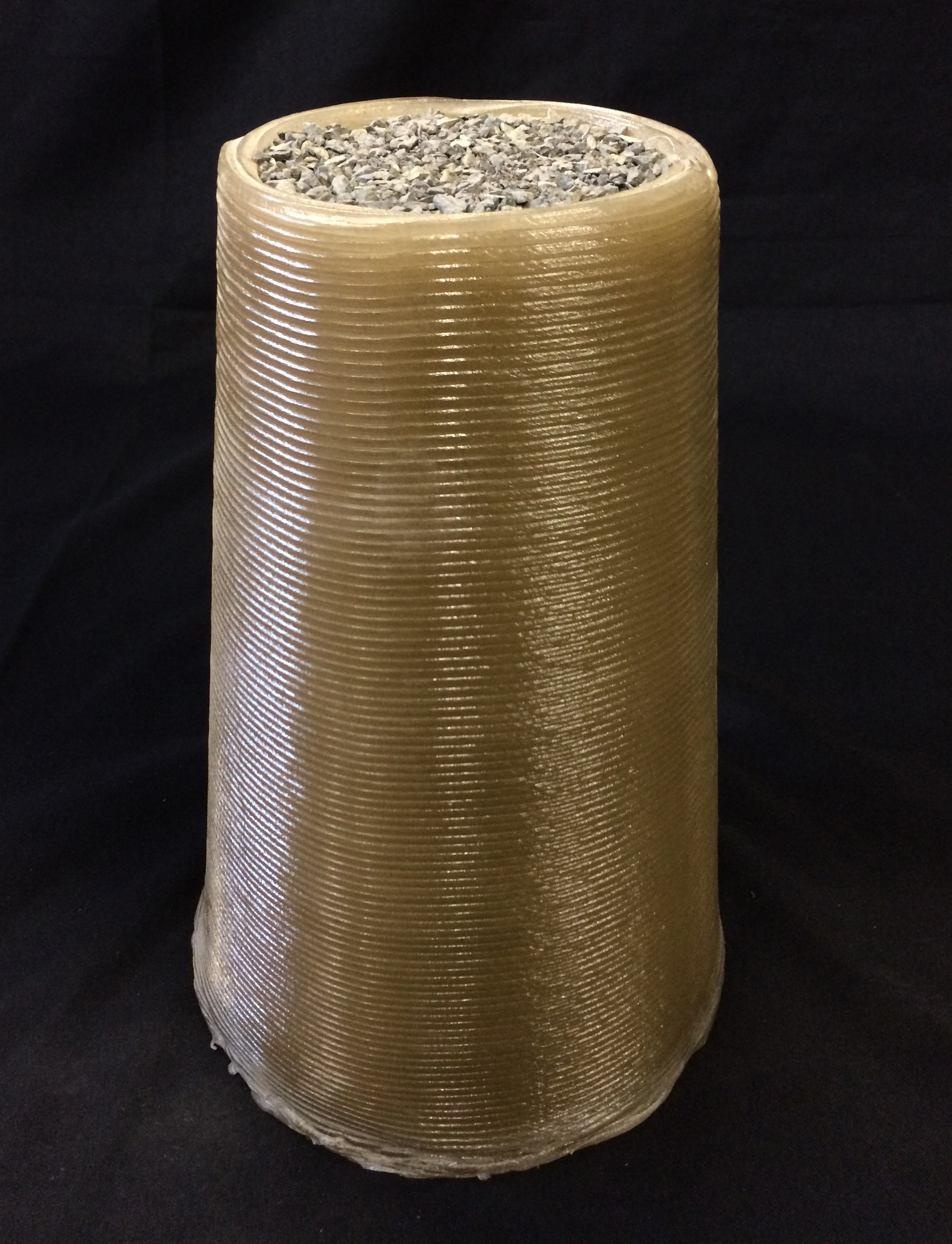 This cone was 3D-printed by the Foster + Partners   Branch Technology team for the Level 2, Phase 1 Compression Test Competition of NASA's 3D-Printed Habitat Competition. Foster + Partners scored the most points for this stage, and was awarded $85,930. - Image Credits: Courtesy of Foster + Stearns   Branch Technology (click to enlarge)