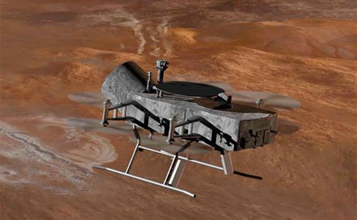 "A proposed eight-bladed drone (aka. ""dragonfly"") could be ideally suited for exploring Saturn's moon Titan in the coming decades. - Image Credit: APL/Michael Carroll"