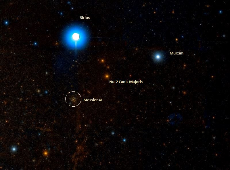 Messier 41 and Sirius. - Image Credit: Wikisky