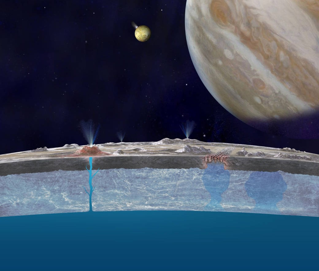 Artist's concept of chloride salts bubbling up from Europa's liquid ocean and reaching the frozen surface. - Image Credit: NASA/JPL-Caltech