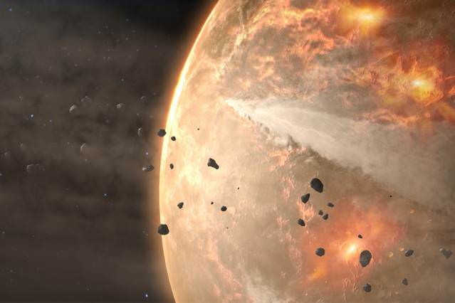 Earth's Hadean Eon is a bit of a mystery to us, because geologic evidence from that time is scarce. Researchers at the Australian National University have used tiny zircon grains to get a better picture of early Earth. - Image Credit: NASA