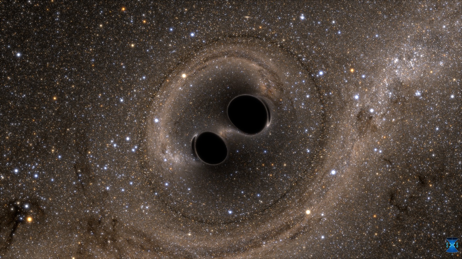 When black holes collide, gravitational waves are created in space itself (image is a computer simulation). - Image Credit: The SXS (Simulating eXtreme Spacetimes) Project