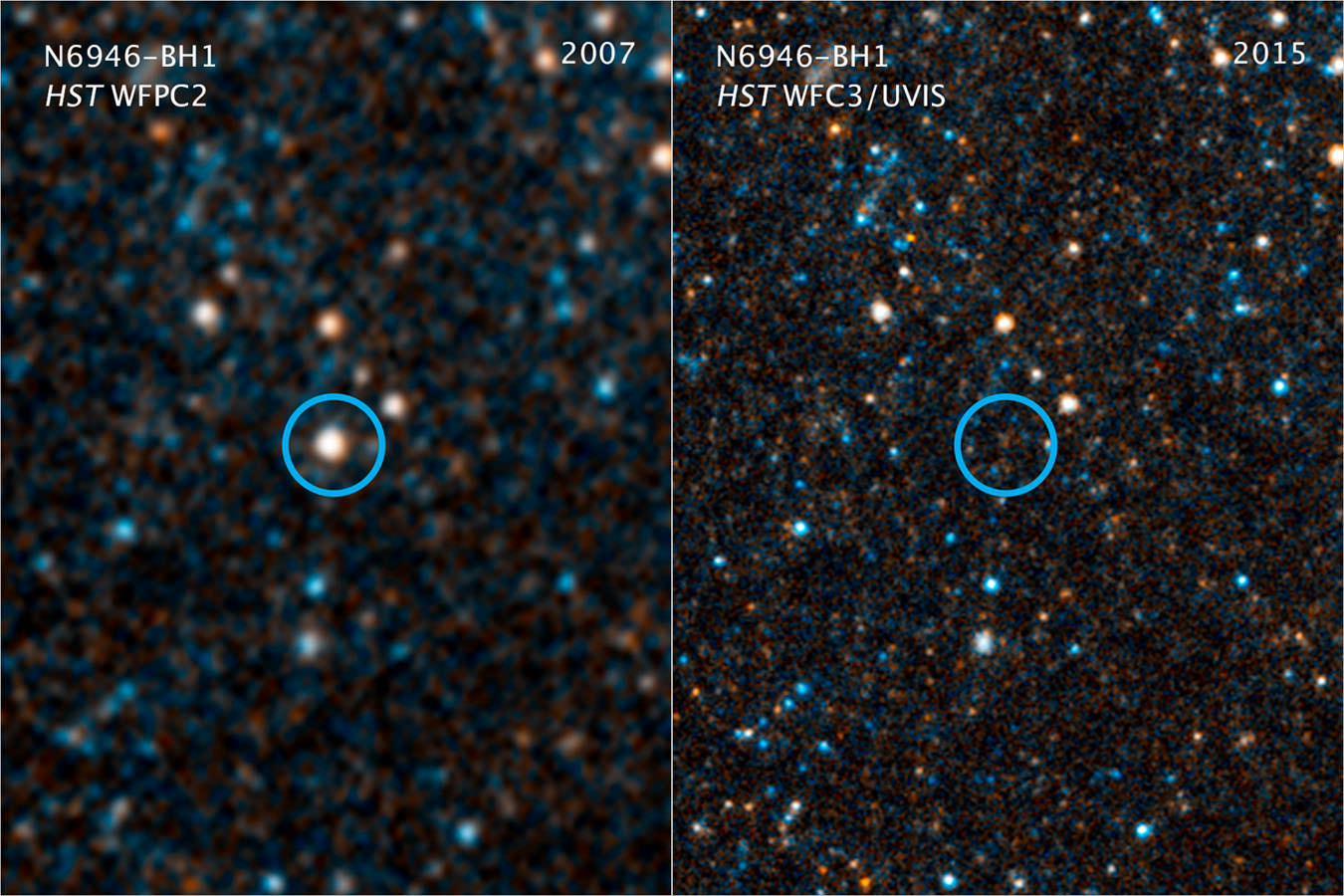 Visible-light and near-infrared photos from NASA's Hubble Space Telescope showing the giant star N6946-BH1 before and after it vanished out of sight by imploding to form a black hole. - Image Credit: NASA/ESA/C. Kochanek (OSU)