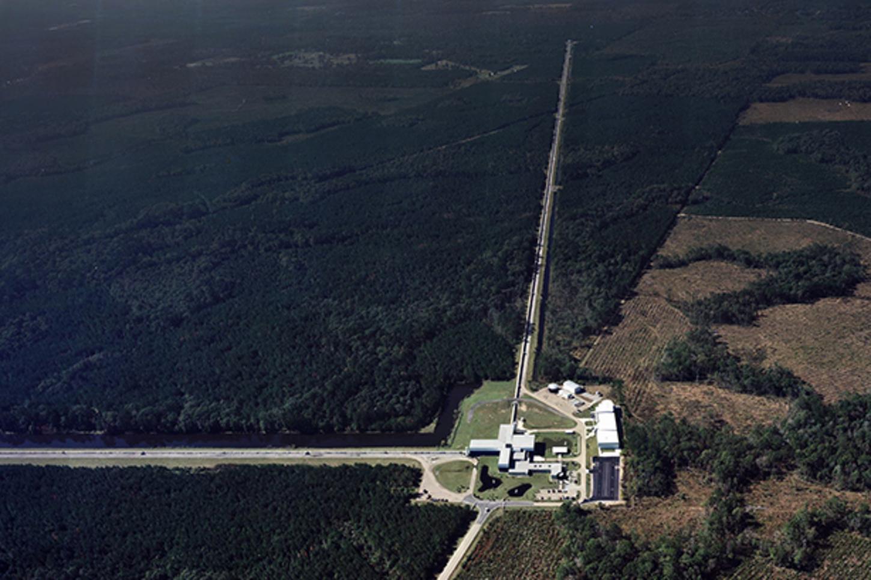 Aerial view of the LIGO gravitational wave detector in Livingston, Louisiana. LIGO , CC BY-NC-ND