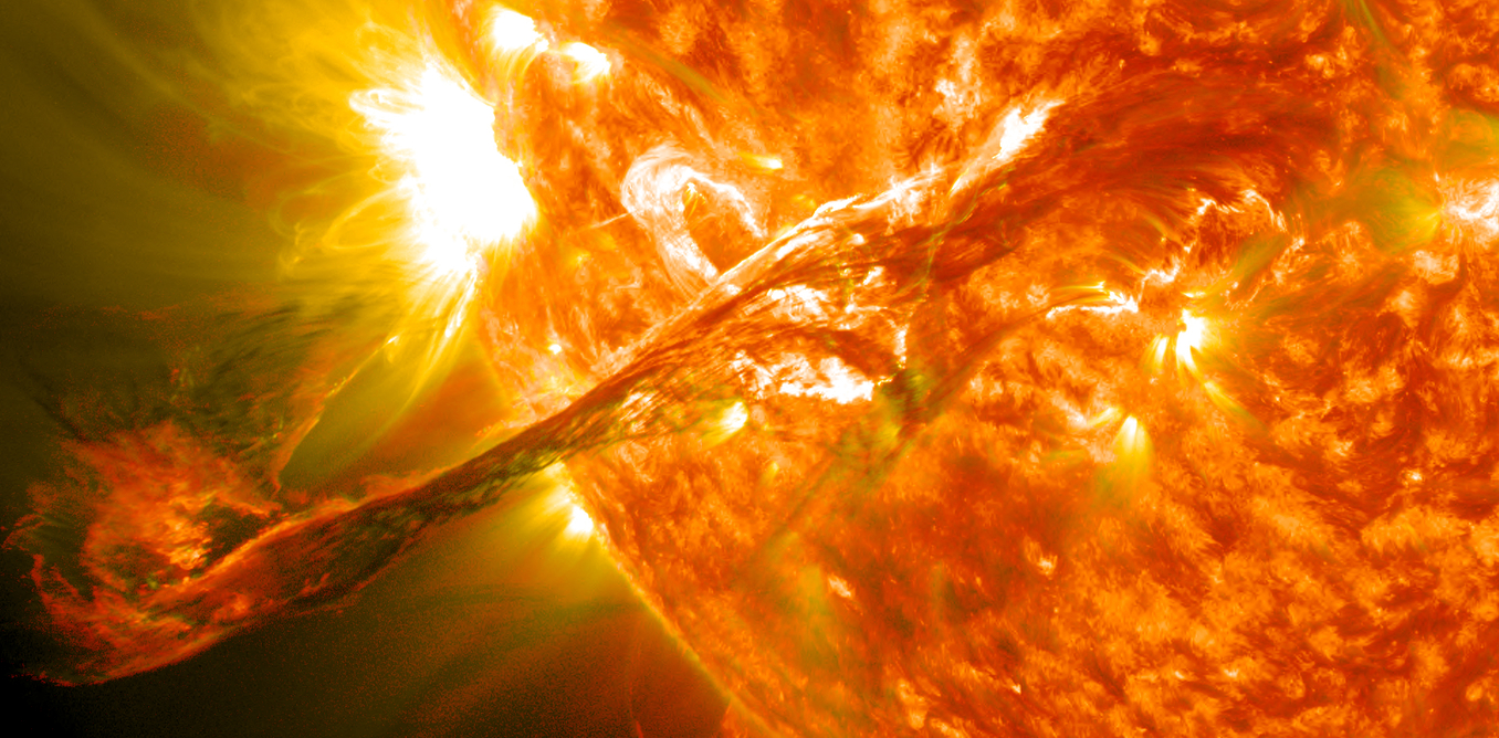 Magnificent coronal mass ejection at the sun in 2012. - Image Credit: NASA