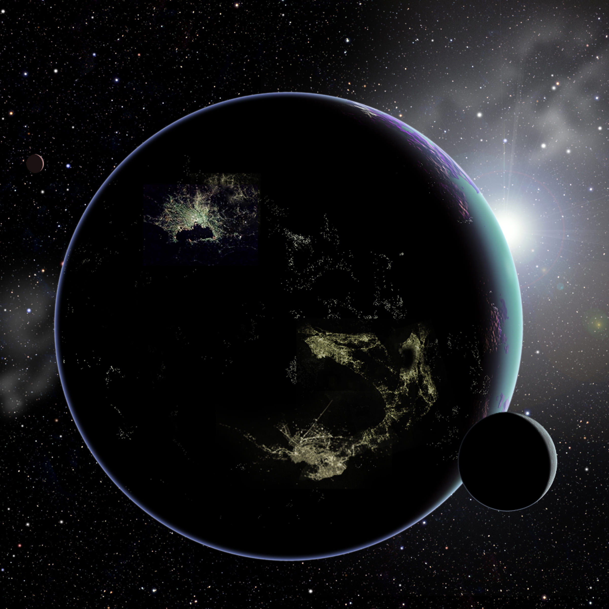 Artist's conception of city lights on an alien planet. - Image Credit: David A. Aguilar (CfA)