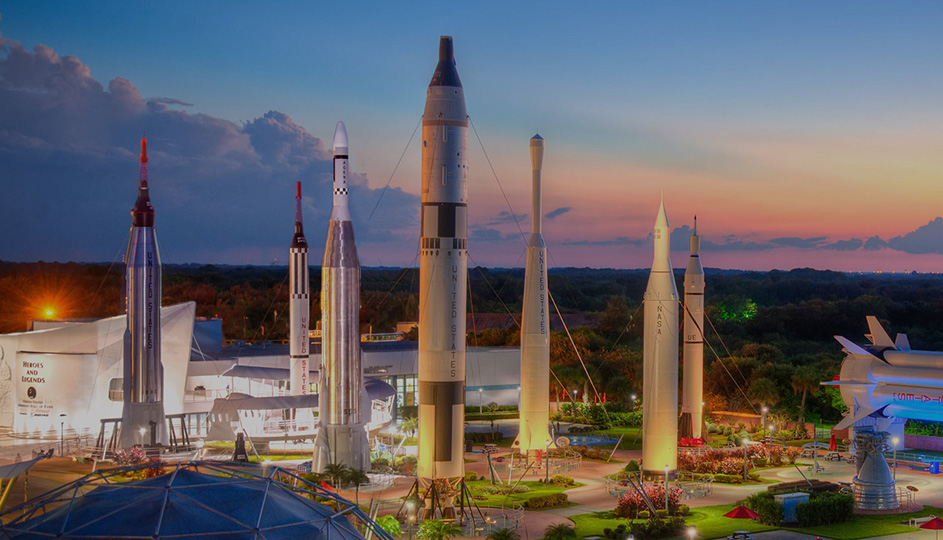 The Kennedy Space Center's Rocket Garden at sunset. - Image Credit: NASA