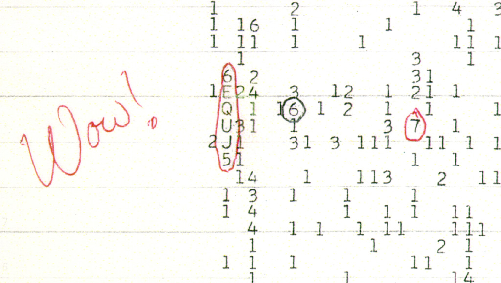 """The Wow! signal represented as """"6EQUJ5"""" . - Image Credit:  Big Ear Radio Observatory and North American AstroPhysical Observatory (NAAPO)/WikimediaCommons"""