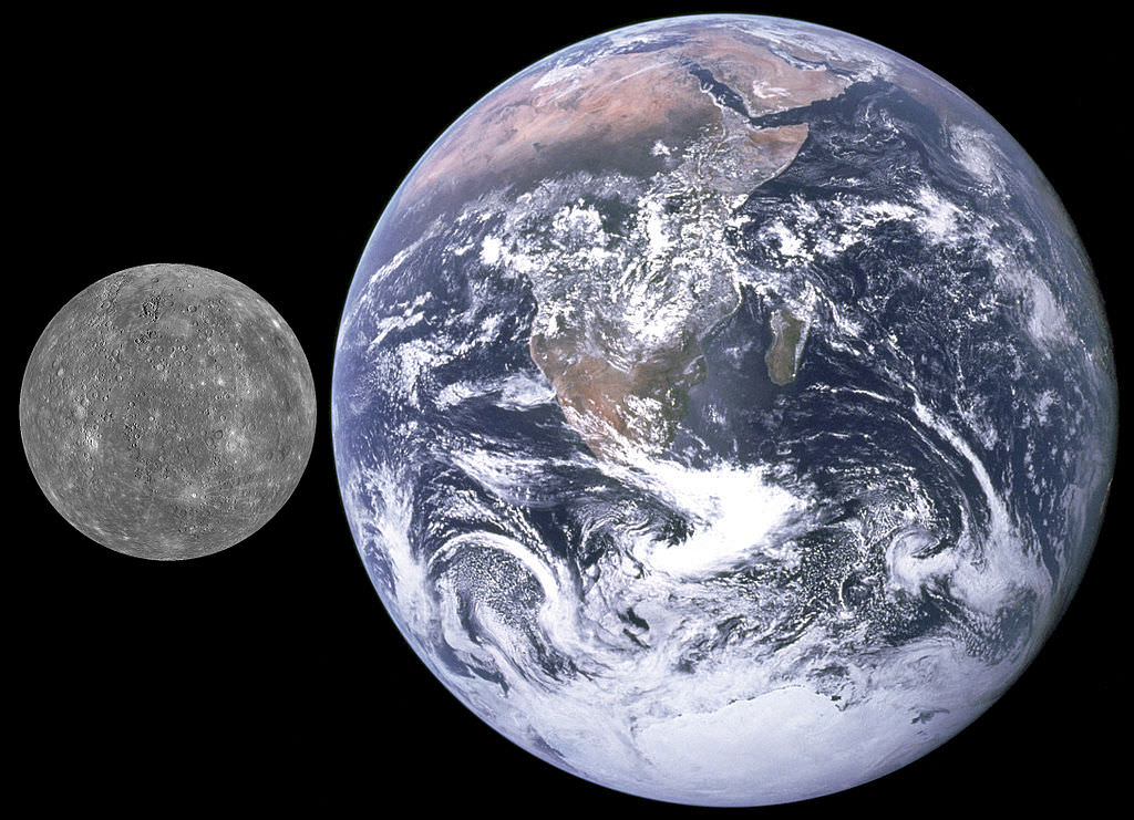 Mercury and Earth, size comparison. - Image Credit: NASA / APL (from MESSENGER)