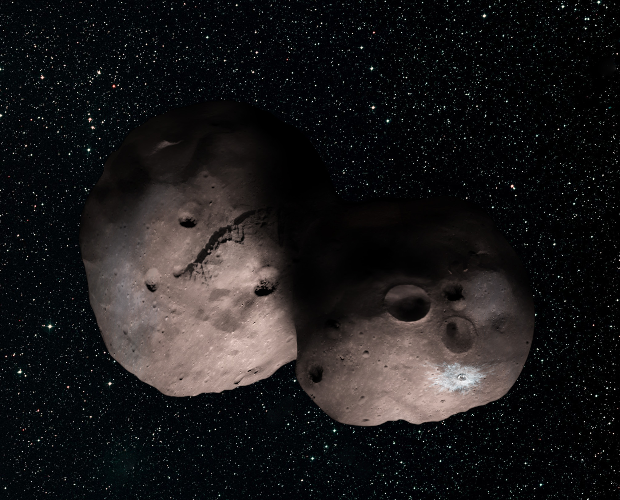 One artist's concept of Kuiper Belt object 2014 MU69, the next flyby target for NASA's New Horizons mission. This binary concept is based on telescope observations made at Patagonia, Argentina on July 17, 2017 when MU69 passed in front of a star. New Horizons theorize that it could be a single body with a large chunk taken out of it, or two bodies that are close together or even touching. - Image Credits: NASA/JHUAPL/SwRI/Alex Parker