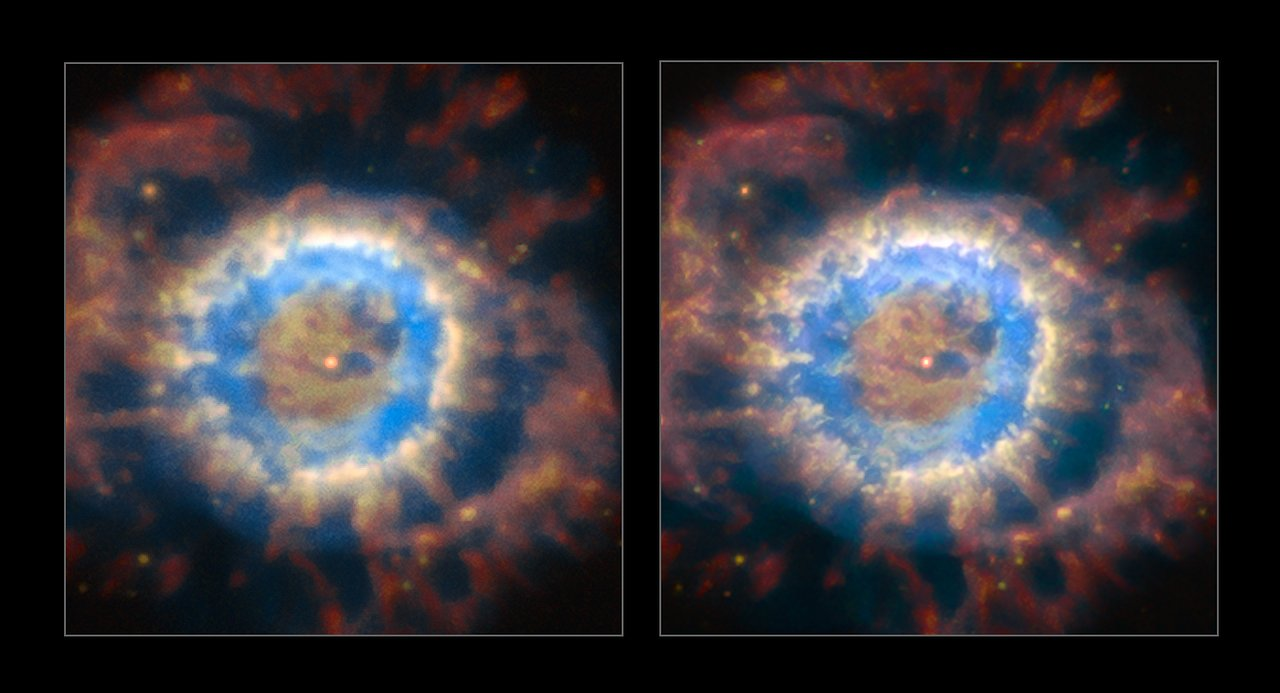 The planetary nebula NGC 6369 seen with natural seeing (left) and when the AOF is providing ground layer correction of the turbulent atmosphere (right). The AOF provides much sharper view of celestial objects and enables access to much finer and fainter structures. - Image Credit: ESO/P. Weilbacher (AIP)