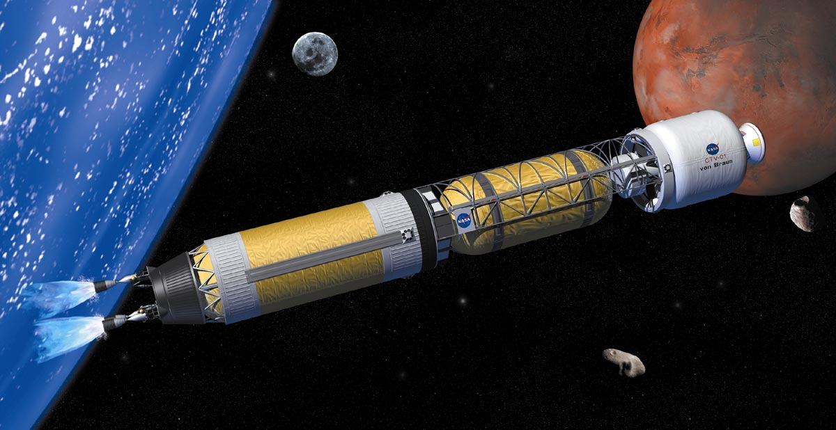 Artist's concept of a bimodal nuclear rocket making the journey to the Moon, Mars, and other destinations in the Solar System. - Image Credit: NASA