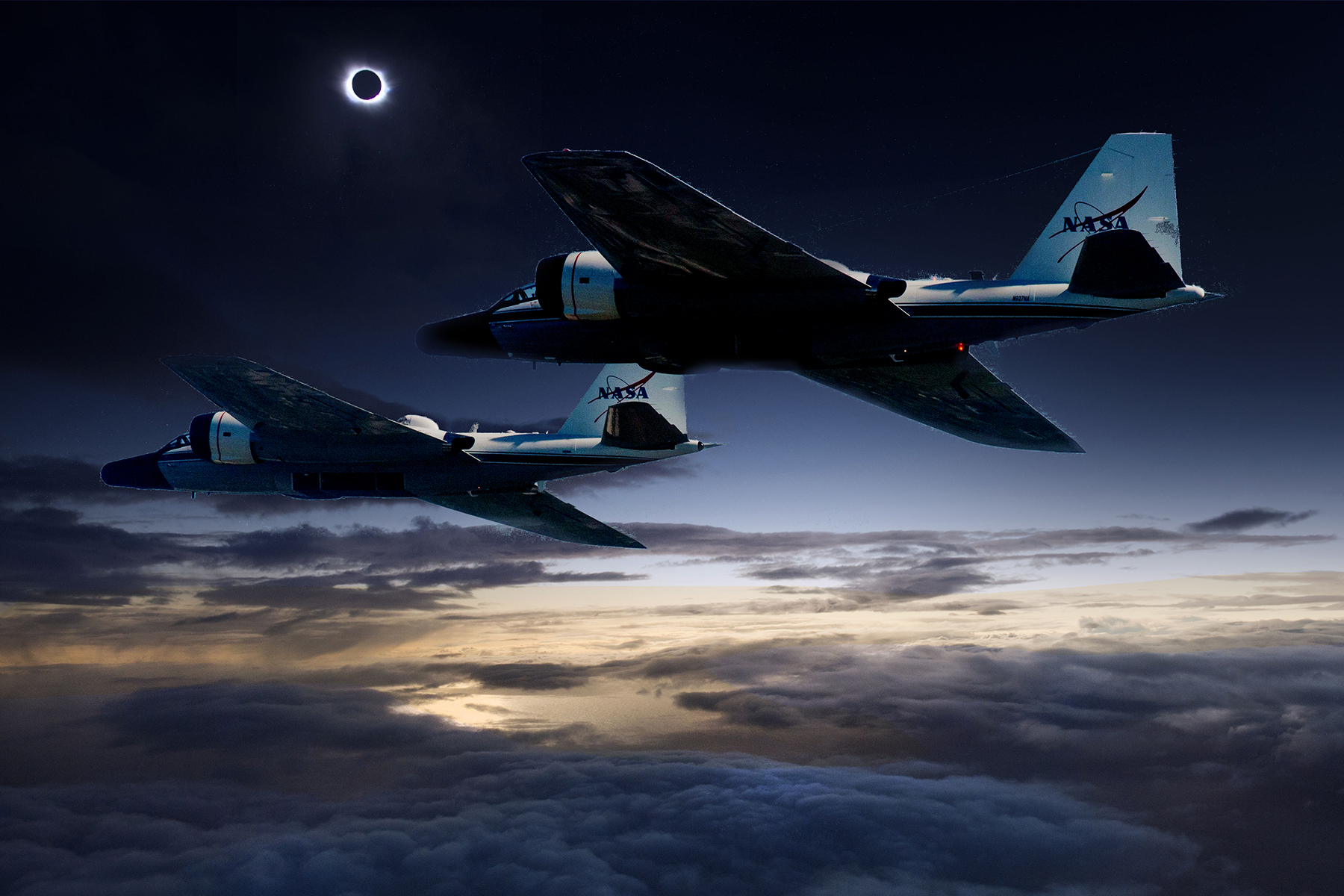 (Photo illustration) During the upcoming total solar eclipse, a team of NASA-funded scientists will observe the solar corona using stabilized telescopes aboard two of NASA's WB-57F research aircraft. This vantage point provides distinct advantages over ground-based observations, as illustrated by this composite photo of the aircraft and the 2015 total solar eclipse at the Faroe Islands. - Image Credits: NASA/Faroe Islands/SwRI