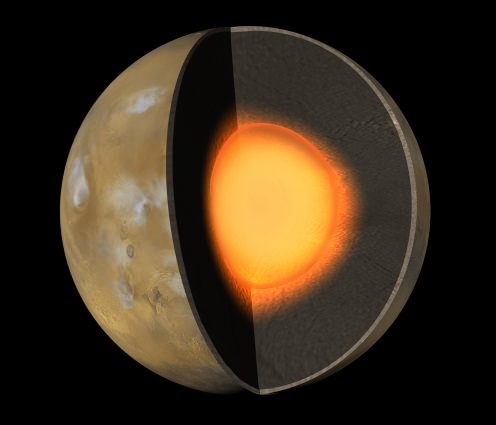 Artist's impression of the interior of Mars. - Image Credit: NASA/JPL