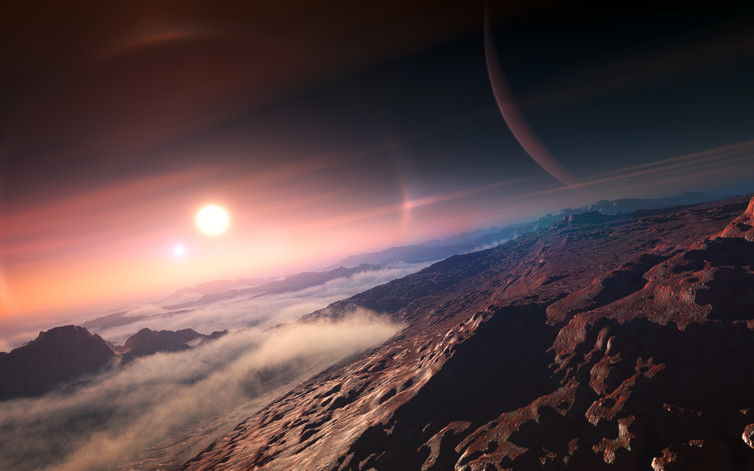 An exoplanet seen from its moon. - Image Credit: IAU/L. Calçada,  CC BY-SA
