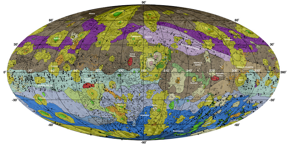 This high-res geological map of Vesta is derived from Dawn spacecraft data. Brown colors represent the oldest, most heavily cratered surface. - Image Credit: NASA/JPL-Caltech/ASU
