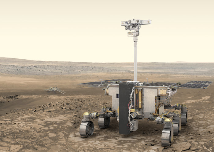 Artist's impression of ESA's ExoMars rover (foreground) and Russia's stationary surface science platform (background) on the surface of Mars. - Image Credit: ESA/ATG medialab