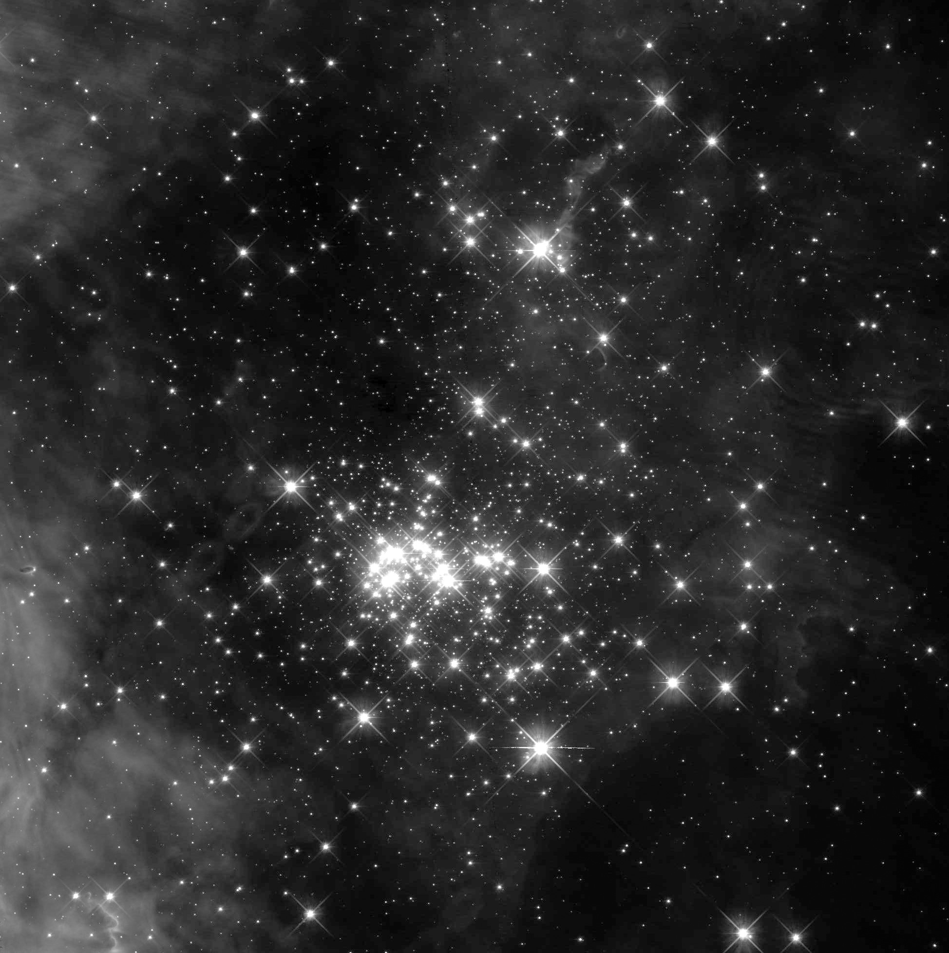 This black-and-white image of the Westerlund 2 star cluster focuses on the central part of the cluster. The image was taken by Hubble in the 800-nanometer wavelength range, in the near-infrared part of the electromagnetic spectrum just outside the range of visible light. This image was taken as part of astronomer Elena Sabbi's preparatory science project, one goal of which is to use Hubble to identify objects of interest for NASA's James Webb Space Telescope. - Image Credits: NASA, ESA, and E. Sabbi (ESA/STScI)