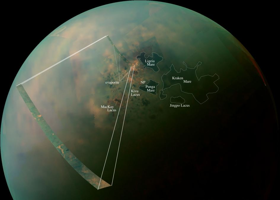 False-color mosaic of Titan's northern lakes, made from infrared data collected by NASA's Cassini spacecraft. - Image Credit: NASA